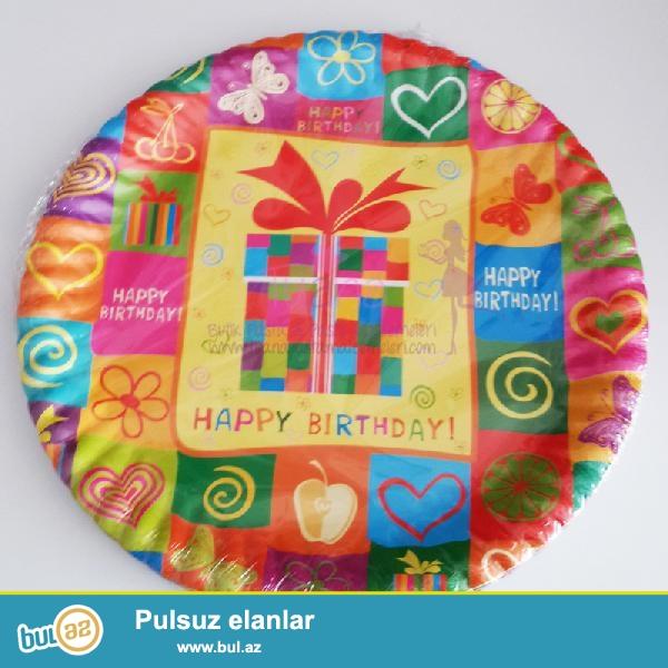 Happy Birthday yazılı rəngarəng plastik boşqab,<br /> Qiymətə 10 ədəd plastik boşqab daxildi...