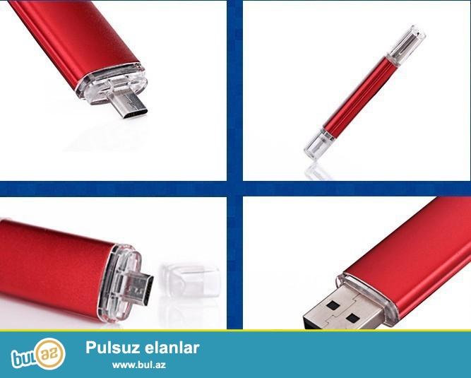 Yeni.çatdırılma pulsuz<br /> Hem telefon hem de komputür üçün 16gb iksi birinde<br /> Paketə daxildir:<br /> 1x USB fleşkart
