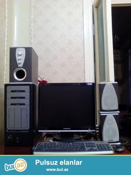 windows 8 64bit<br /> cpu intel pentium 3.20Ghz<br /> ram 2gb <br /> Hdd250gb<br /> vga NVIDIA GeForce 7300 GT 1gb<br /> monitor sync master 931c 19dyum 1280 x 1024<br /> kalonkalar Saachi<br /> klaviatura maus<br /> ayri ayri satilmir <br /> 0505027927