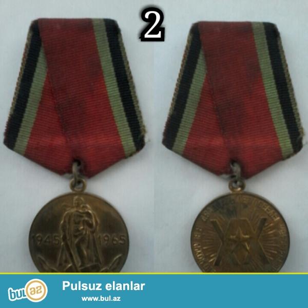 """Bu medallar kolleksiya üçün çox qiymətlidir. 1-ci medal 1941-1945 Böyük Vətən müharibəsinin """"Qələbə medalı"""" ..."""