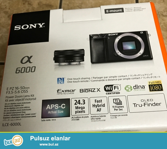 16-50mm Lens ilə Sony Alpha a6000 mirrorless Digital Camera...