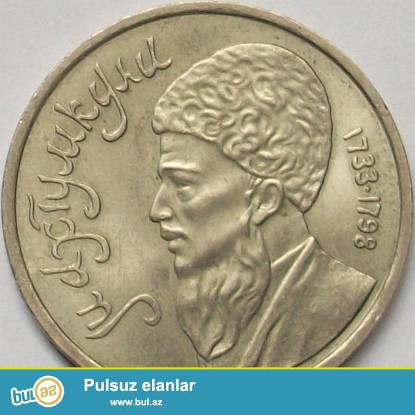 SSRİ-nin 1991-ci ildə Türkmən şairi Maxtumkulinin şərəfinə buraxılmış 1 Rublunu satıram...