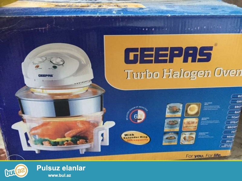 GEEPAS Brendinin Turbo Halogen Oven dəsti satılır! Yenidir! Artıq bir dənə qalıb, pakofkadan açılmayıb! <br /> Xanımlar üçün Cehizlik keyfiyyətli Mətbəx Qazanı! <br /> <br /> Product Features: <br /> Output (Watt) : 1200-1400W <br /> Heats up and cooks quickly Cooking time is 3 to 5 times faster than traditional ovens<br /> Cooking without fats or oil-reduces cholesterol intake<br /> High-temperature resistant glass pot <br /> Low usage of electricity <br /> Thoroughly thaws out residue<br /> Easy operation with timer and temperature control <br /> Temperature control sets-heat to precise temperature <br /> Cooks food evenly<br /> 220-240V 50/60Hz 1200-1400W