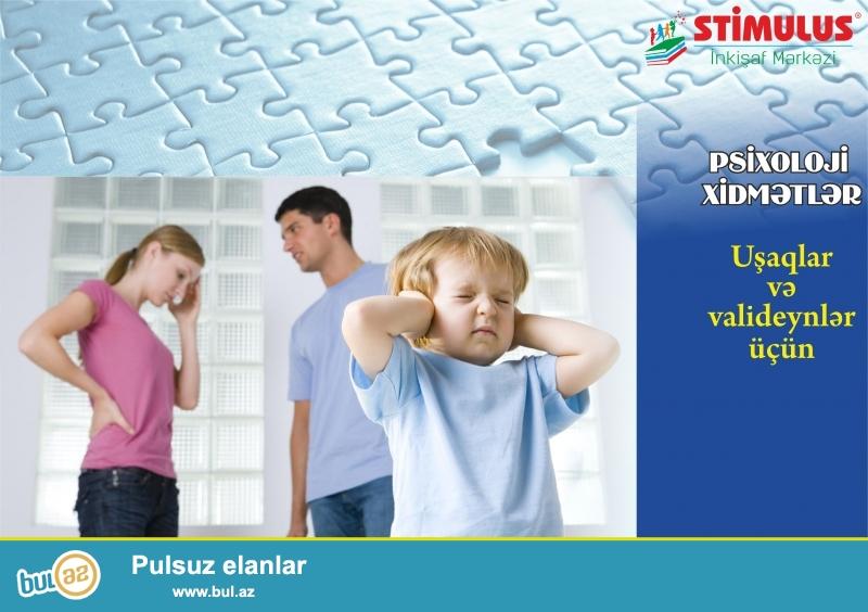 Əziz valideynlər, uşaqlarda müşahidə olunan<br /> • Autizm sindromu (Asperger, Rett sindromu, Atipik autizm)<br /> • Daun sindromu<br /> • Davranış pozuntusu <br /> • Əqli gerilik<br /> • Psixi inkişafın ləngiməsi <br /> • Hiperaktivlik<br /> • Serebral iflic<br /> • Uşaq qorxuları, utancaqlıq, komplekslər, özünəqapanma, ünsiyyət çətinliyi, sosial adaptasiya<br /> • Bacı-qardaş qısqanclığı <br /> • Aqressivlik, İnadkarlıq<br /> • Dırnaq yemə, barmaq əmmə<br /> • Altını islatma<br /> • Diqqət dağınıqlığı, yaddaş, təsəvvür zəifliyi<br /> • Təfəkkür, qavrama problemləri<br /> • Məktəb və bağça həyəcanı<br /> kimi psixoloji problemlərin həllində STİMULUS İnkişaf Mərkəzinin Psixoloji xidmətlərindən yararlana bilərsiniz...
