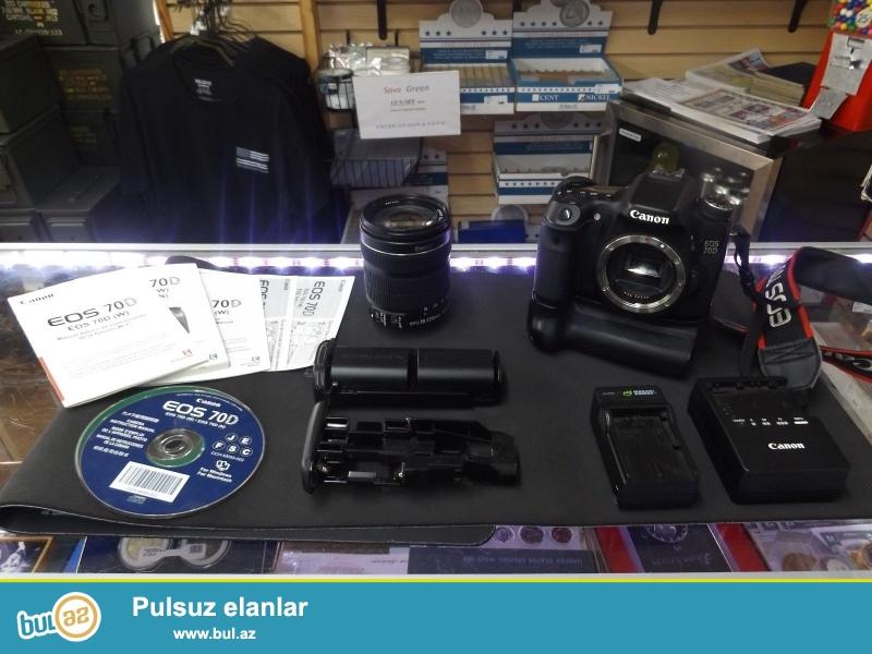 Cannon EOS 70D / Canon EFS 18-135mm Lens w.<br /> <br /> istifadəçi kitabçası:<br /> <br /> Brand Canon<br /> Model EOS 70D<br /> Əsas Xüsusiyyətlər<br /> Camera növü Digital SLR<br /> Ekran ölçüsü 3...
