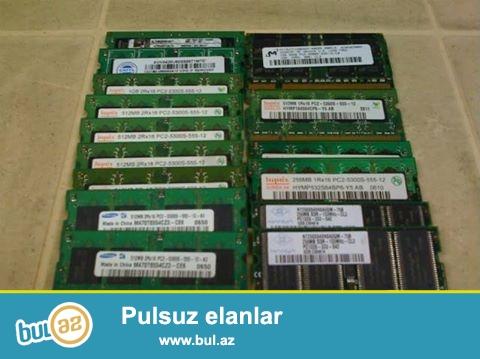 Notebook və stolüstü komputerlər üçün ramların satışı.Qiymət 10 manat.