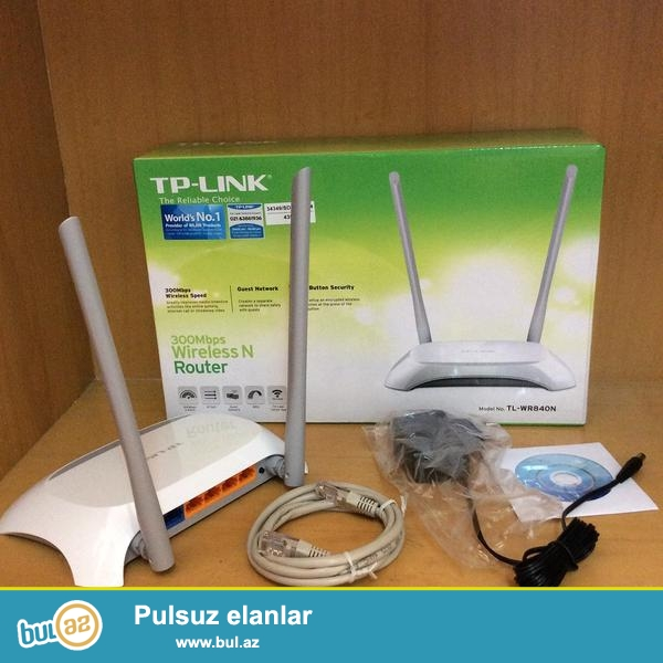 TP-LINK TL-WR840N 300Mbps Wireless N Cable Router. Yenidi istifade olunmayib...