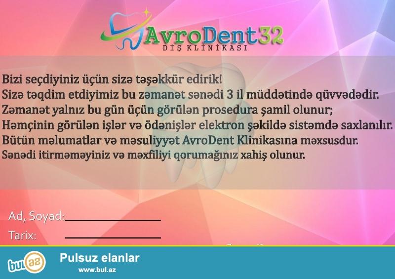 AZƏRBAYCANDA İLK VƏ TƏK !!!<br /> Daima yeniliklərin tərəfində olan AvroDent Diş Klinikası bugün daha bir yeniliyə imza atdı...