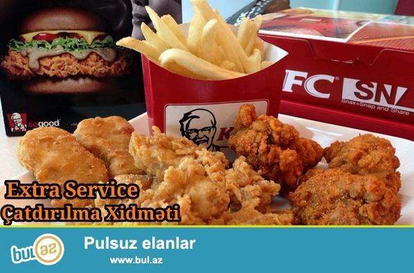KFC&McDonald's ve diger unvanlardan mehsullarin catdirilmasi<br /> Достовка еды из KFC & McDonald's<br /> Extra Servis-catdirilma xidmeti<br /> 070 370 45 45<br /> 055 830 76 24