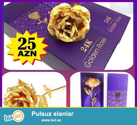 Golden Rose, qızılı rəngdə qızıl gül. CƏMİ 25 manata...