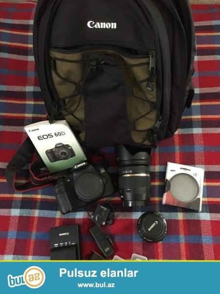 Canon 60D, Tamron 17-50mm 2.8 / f və aksesuarlar.<br /> <br /> istifadəçi kitabçası:<br /> <br /> Brand Canon<br /> Model 60D<br /> Əsas Xüsusiyyətlər<br /> Camera növü Digital SLR<br /> <br /> Daha ətraflı məlumat üçün bizimlə əlaqə saxlayın:<br /> <br /> Gmail: unbetableeletronics@gmail...