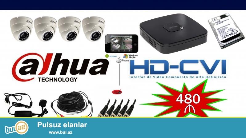 Tehlukesizlik kameralarinin qurasdirilmasi:<br />  <br /> ** Dahua 4 channel DVR<br /> ** HHD 500GB<br /> ** 1mp Dahua HD kamera+4 eded<br /> ** CCTV kabel<br /> ** Adaptor+1 eded<br /> ** CCTV connector<br /> ** CCTV 12v connector<br /> <br /> IP almadan pulsuz internetden mobil telefonla izlemek imkani<br /> Pulsuz qurasdirilma!