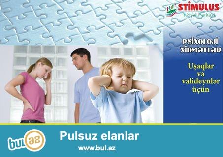 Əziz valideynlər, uşaqlarda müşahidə olunan<br /> • Autizm sindromu (Asperger, Rett sindromu, Atipik autizm)<br /> • Daun sindromu<br /> • Davranış pozuntusu <br /> • Əqli gerilik<br /> • Psixi inkişafın ləngiməsi <br /> • Hiperaktivlik<br /> • Serebral iflic<br /> • Uşaq qorxuları, utancaqlıq, komplekslər, özünəqapanma, ünsiyyət çətinliyi, sosial adaptasiya<br /> • Bacı-qardaş qısqanclığı <br /> • Aqressivlik, İnadkarlıq<br /> • Dırnaq yemə, barmaq əmmə<br /> • Altını islatma<br /> • Diqqət dağınıqlığı, yaddaş, təsəvvür zəifliyi<br /> • Təfəkkür, qavrama problemləri<br /> • Məktəb və bağça fobiyası<br /> kimi psixoloji problemlərin həllində STİMULUS İnkişaf Mərkəzinin Psixoloji xidmətlərindən yararlana bilərsiniz...