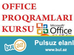 Ofis proqramlari Windows ,Word ,  Excel ,  Power point  , Internet kursu her proqram 20 AZN Dersler individual ferdi sekilde 10 il iş təcrübəsi olan müəllimə tərəfindən kecirilir...