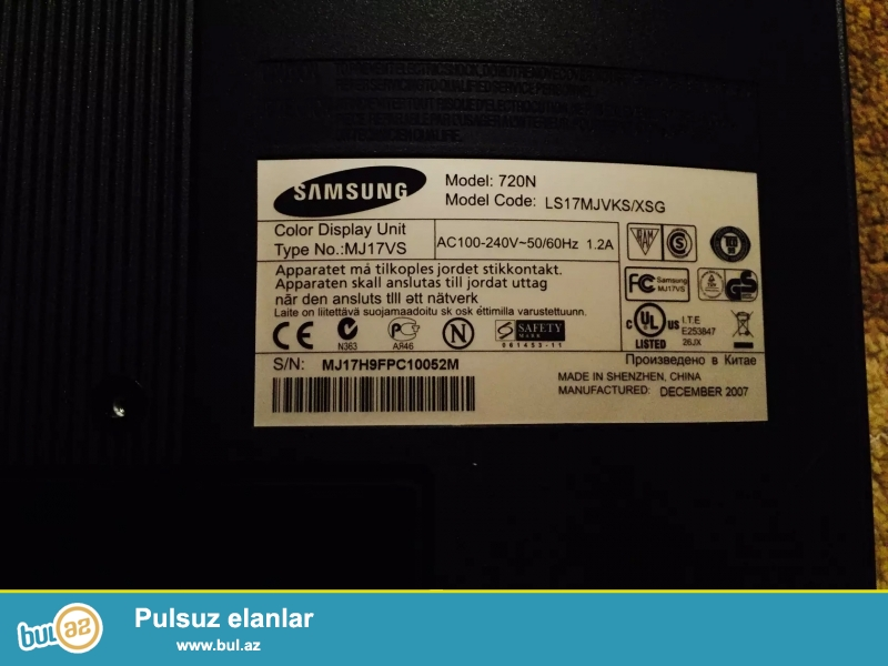 Samsung Pc Ekran (17) Dinamikalar Genius Maus ve Klaviatura tam qaydasinda isleyir Manitorun sag yuxarisinda kicik cizig var Ekran acilanda bilinmir Saat 21 00 sonra narahat etmeyin