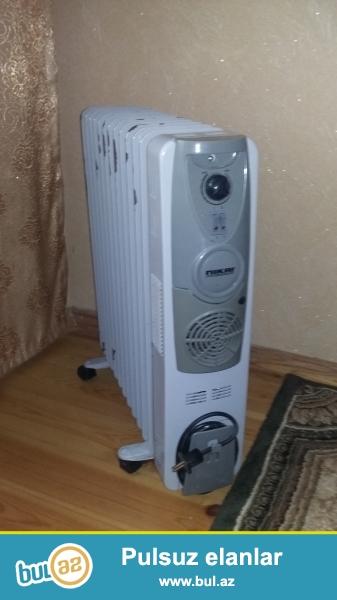 Qizdirici radiator satilir.Cox az ishlenib,evde zirzemide qalib uzun muddet,bezi yerlerinde kraskasi gedib,ama bunun ishlemeyine dexli yoxdu...