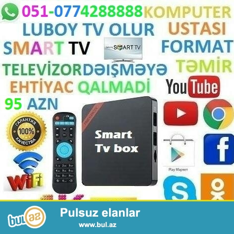 TV BOX Android adi televizoru smart edir ve internete qoshur...