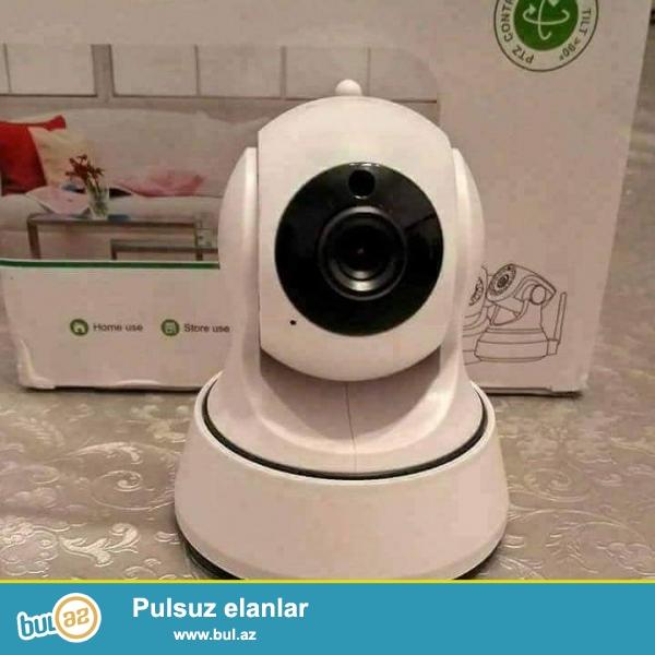 IP kamera- yukek keyfiyyetli HD wi-fi ip kamera. Telefonla istediyiniz yerden izleye qulaq asa ve danisa biersiz...