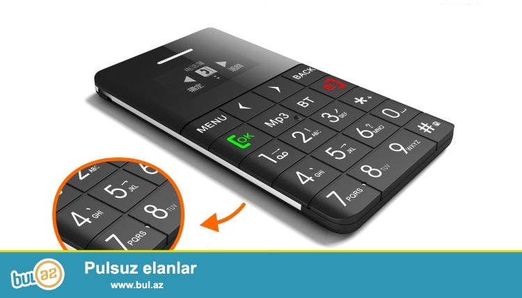 YENI.Çatdirilma pulsuz<br /> Dunyanın Yeni Kredit kartı boyda En Agıllı telefonu Q5 smart<br /> Xüsusiyyətləri<br />  <br /> 1 Gördüyünüz nazik telefonların en naziyi, 5...
