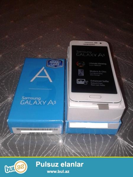 Yeni Samsung Galaxy A3 2015 modeldir, duosdir. Telefon ve aksesuarlar qetiyyen istifade edilmeyib...