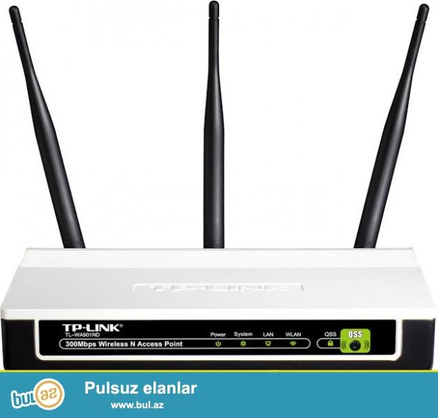 Model:Tp-Link WA901ND,\\r\\n3 Antenn,\\r\\n1 Lan Port,\\r\\n300 MB Wireless,\\r\\nYaxshi veziyyetdedir, Adaptoru, Kabeli, aksesuarlari yerindedir, son qiymetdir...