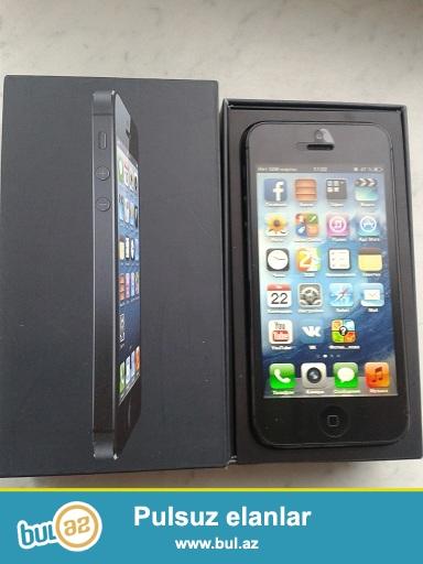 iPhone 5 satiram qara rengde ela veziyyetde qutusu orginal aksesuarlari(usb charger nausnik ve iyne) var caspiandan alinib...