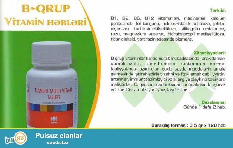 Multi vita-B (35AZN)<br /> Tərkibi:selluloz mikrokristallar,selluloz hidroksiropil,karboksimetil natrium nişasta,maqnezium sterat,əvvlcədən jelatinləşmiş nişasta...
