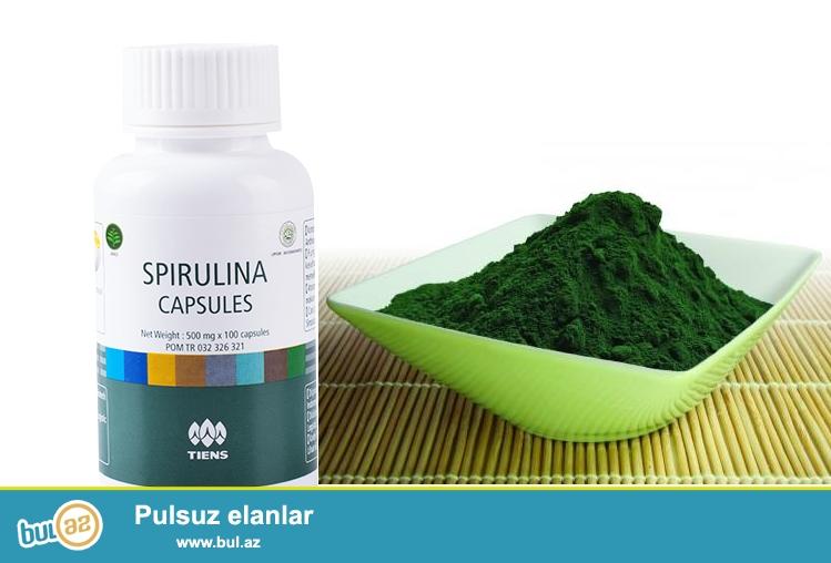 Tərkibi:Təbii spirulina tozu,beta –karotin,B qrup vitaminlər,dəmir,kalsium,maqnezium,mis,sink...