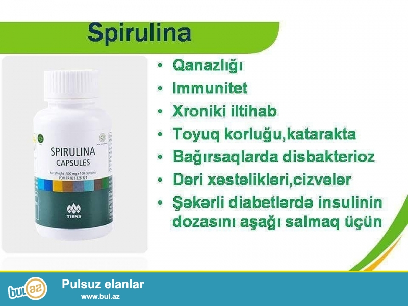 Spirulinaa.dəniz yosunu olub,tərkibinin zənginliyinə görə