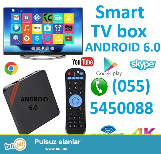 SMART TV BOX, ANDROID 6.0. ✅115AZN  - 0555450088<br />