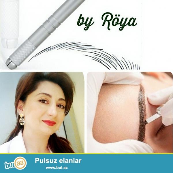 Kosmetoloji prosedurlar. Permanent qaş, dodaq ,göz makiyajı Microblading tük effekti qaş çəkimi...