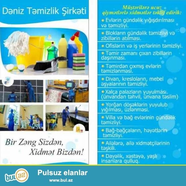 Dəniz təmizlik şirkəti sizə öz xidmətlərini təklif edir...