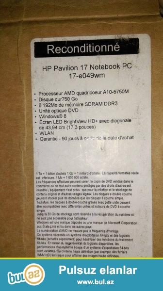 Noutbook satılır HP pavilyon 17 noutbukun problemi var yandırmaq olmur ,ustaya gostermiwem video cartinda problem var 100azn xerci var basqa hecbir problemi yoxdu...