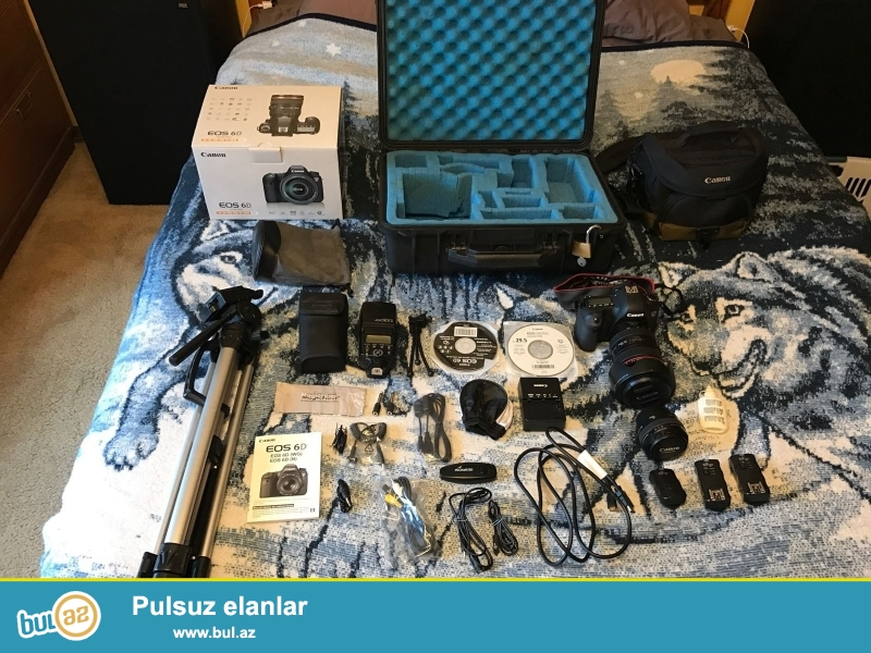 / 24-105mm + 50mm w Canon EOS 6D Kit.<br /> <br /> 2 1 pulsuz almaq almaq...