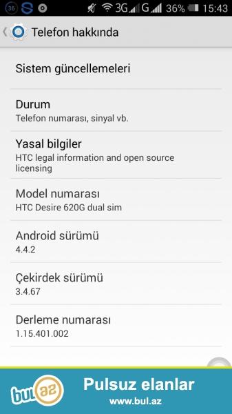 Salam Htc Desire 620G Dua Sim 2 Nomredi Yaddash 8G Telefon